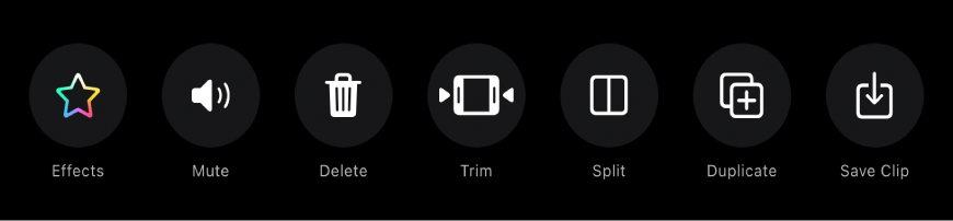 Buttons that appear below the viewer when a clip is selected. From left to right, the buttons are Effects, Mute, Delete, Trim, Split, Duplicate, and Save Clip.