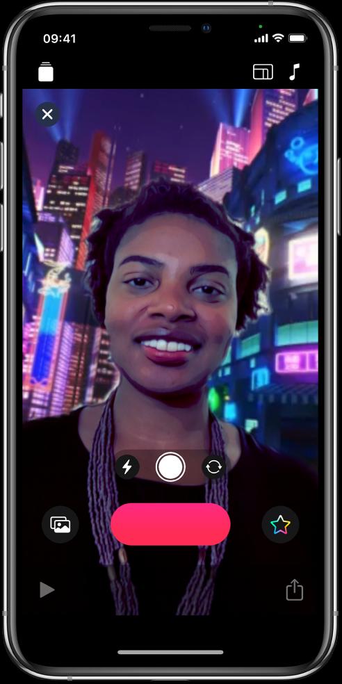 Una escena de selfie en el visor.