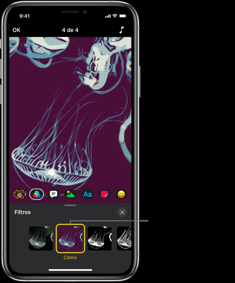 La imagen de un vídeo en el visor con el filtro Cómic seleccionado en Filtros.