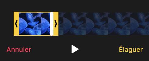 Un clip avec des poignées d'élagage jaunes et, en dessous, un bouton Annuler, un bouton Lecture et un bouton Élaguer.