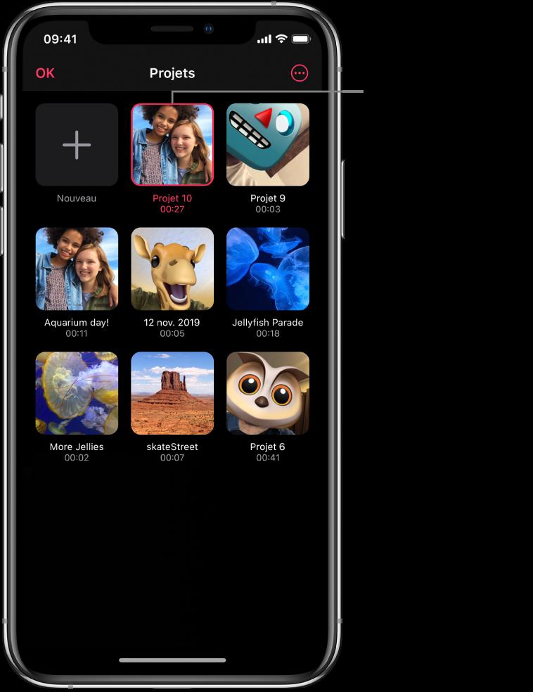 L'écran Projets affichant un bouton Nouveau et les vignettes de projets existants, ainsi qu'un bouton «Plus d'options» en haut à droite.