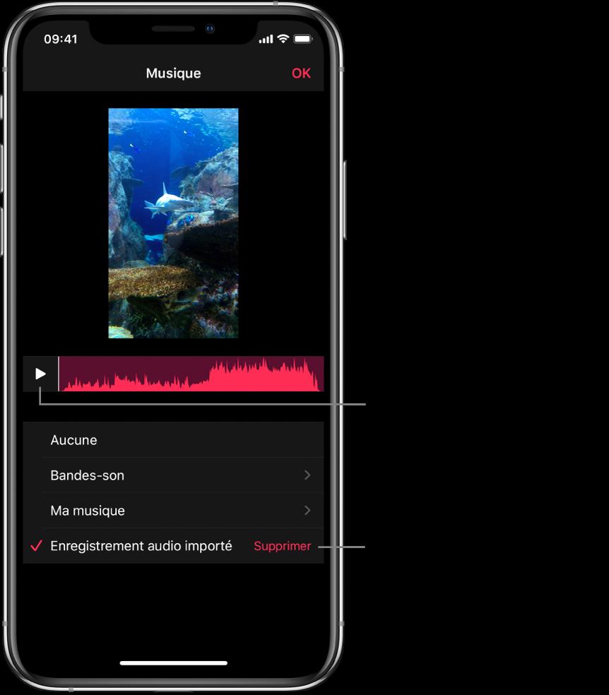 Bouton de lecture avec une forme d'onde audio sous une image dans le visualiseur, avec un bouton Supprimer en dessous pour supprimer l'enregistrement audio importé.