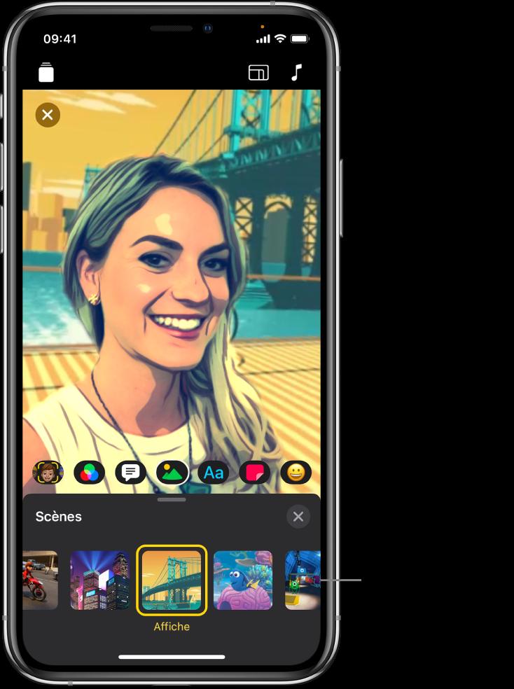 Une scène en selfie dans le visualiseur, avec les options de scène en bas.