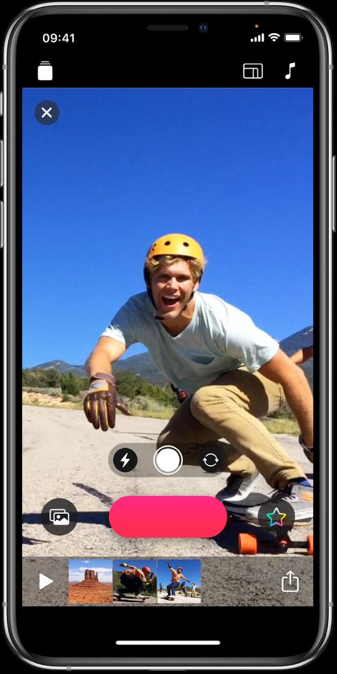 Uma imagem de vídeo no visualizador com o botão Gravar abaixo.
