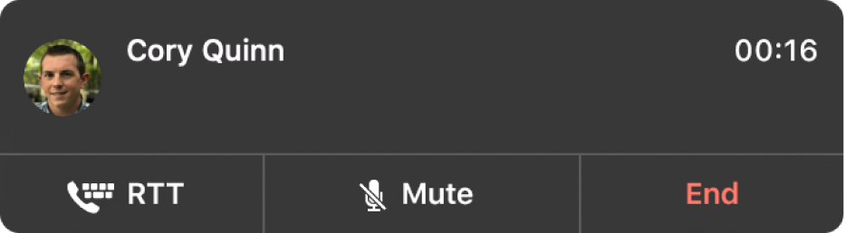 A notification of an incoming RTT call.
