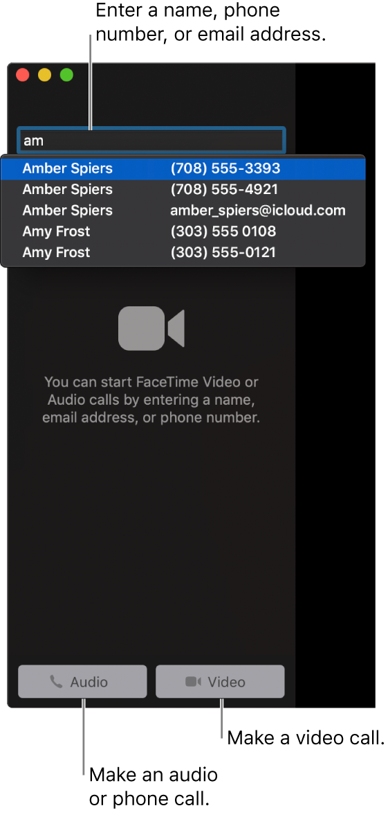 Enter a name, phone number, or email address in the search bar. Click the Video button to make a FaceTime video call. Click the Audio button to make a FaceTime audio or phone call.