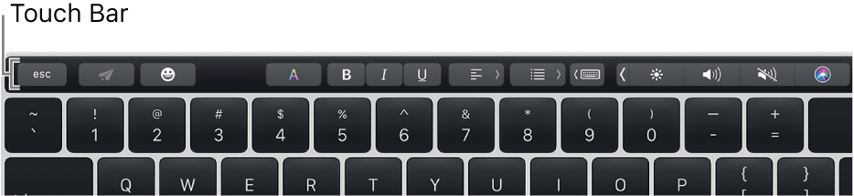 La Touch Bar en la parte superior del teclado.