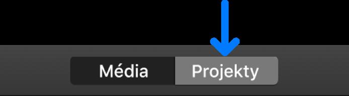 Tlačítko Projekty na nástrojovém panelu
