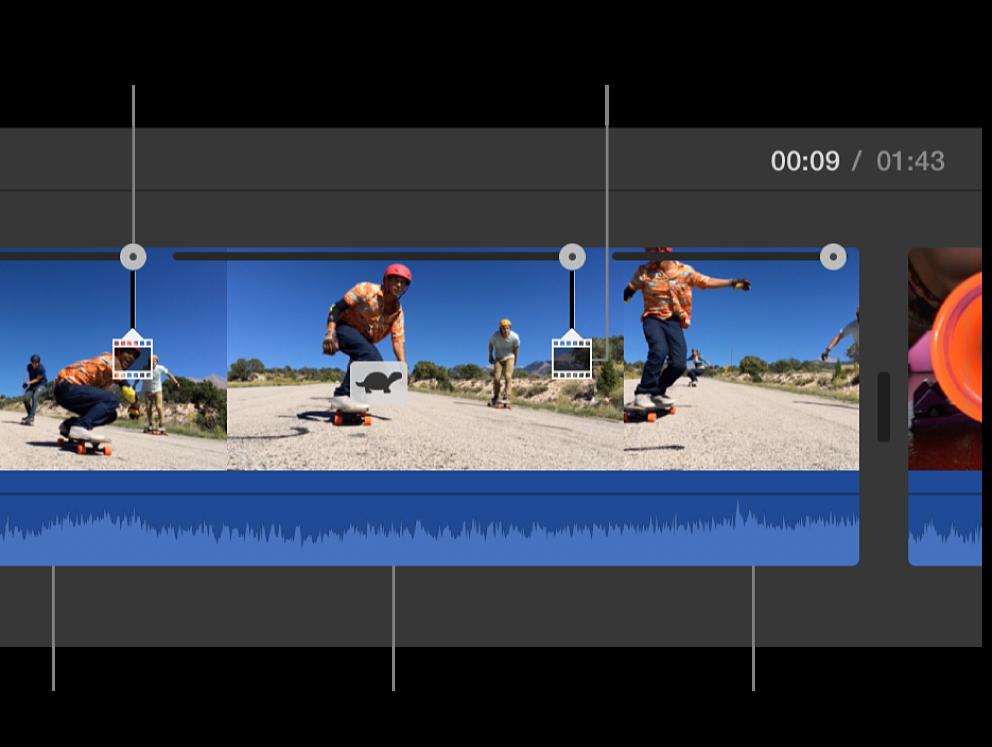 Skildpaddesymbol og hastighedsmærker vises på klip på tidslinje