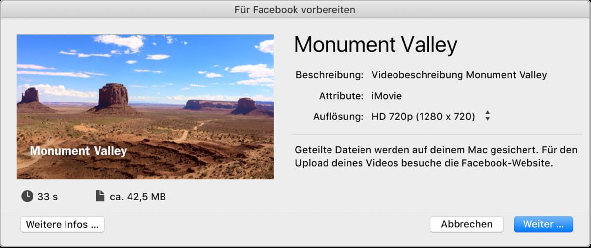 """Fenster """"Für Facebook vorbereiten"""""""