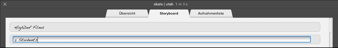 """Eingeben von Text im Bereich """"Storyboard"""""""
