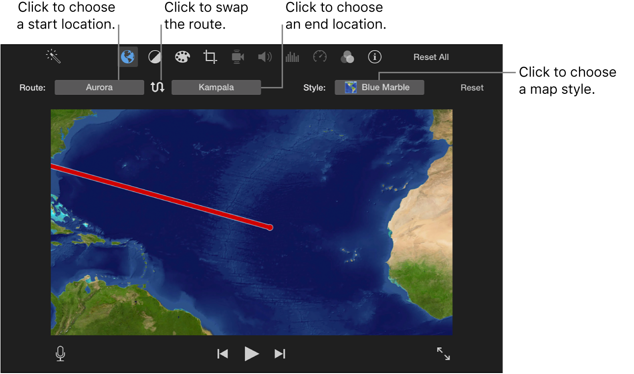 Animated travel map controls above viewer for setting start and end location, swapping route direction, and choosing map style