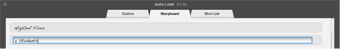 Text being entered in trailer Storyboard pane