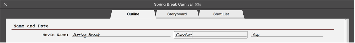 Text being entered in trailer Outline pane