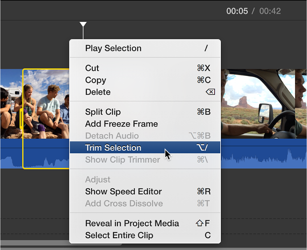 Trim Selection being chosen from shortcut menu in timeline