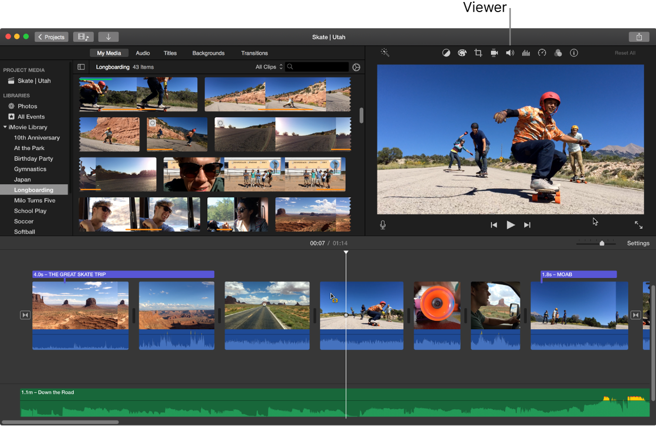 iMovie main window showing viewer on right above timeline