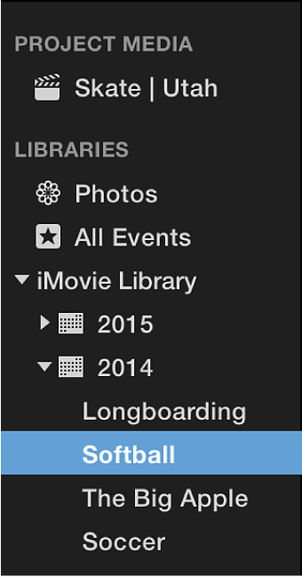 Libraries list with events sorted and grouped by year