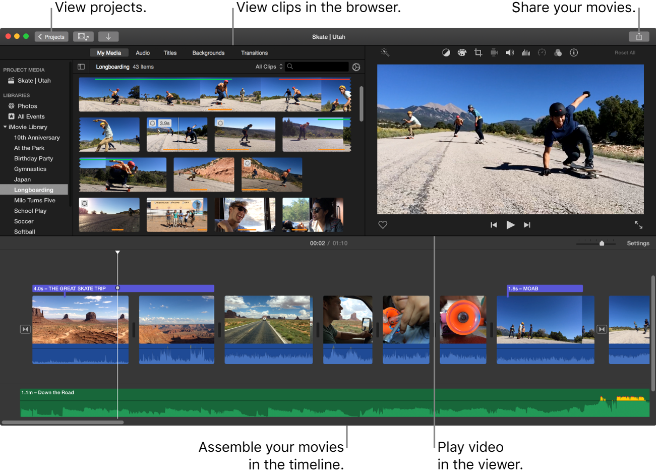 iMovie main window showing browser in upper left, viewer in upper right, and timeline at bottom