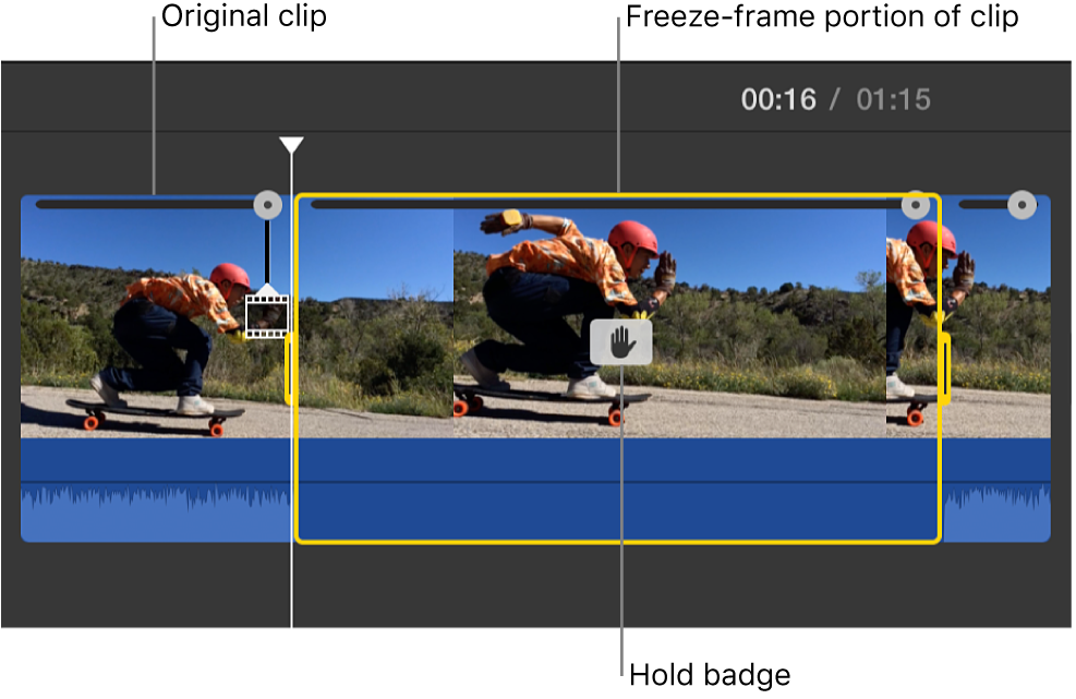 Freeze-frame clip inserted at playhead position in timeline