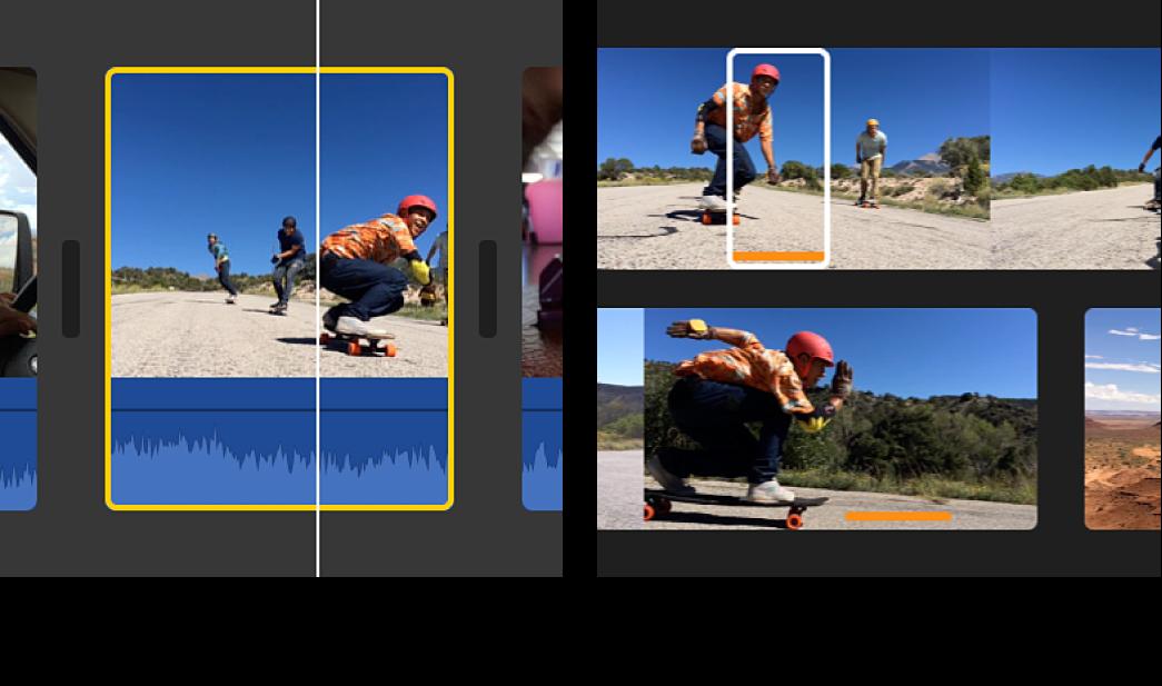 Gráfico a la izquierda con el clip seleccionado en la línea de tiempo, y gráfico a la derecha con un intervalo seleccionado del clip de origen en el explorador, con los límites de clip coincidentes en la línea de tiempo