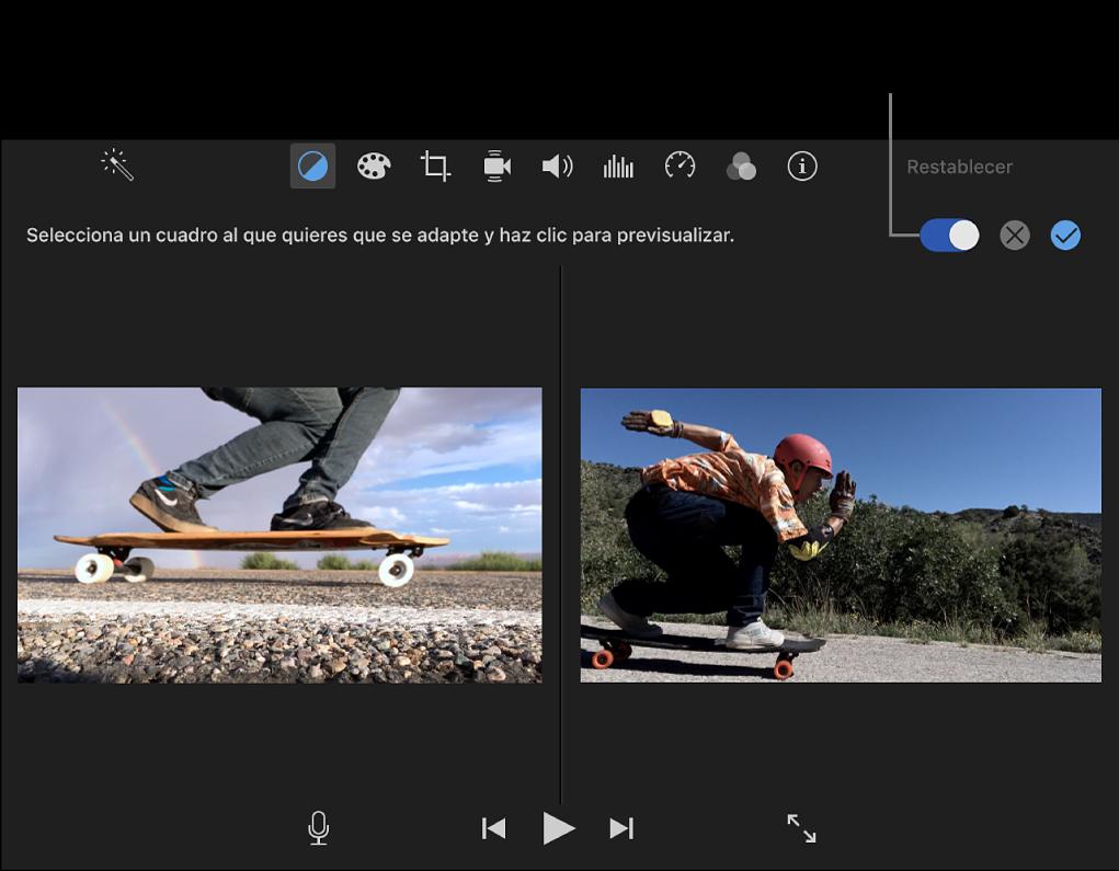 Visor con el clip a la derecha y una previsualización del clip de origen para igualar a la izquierda