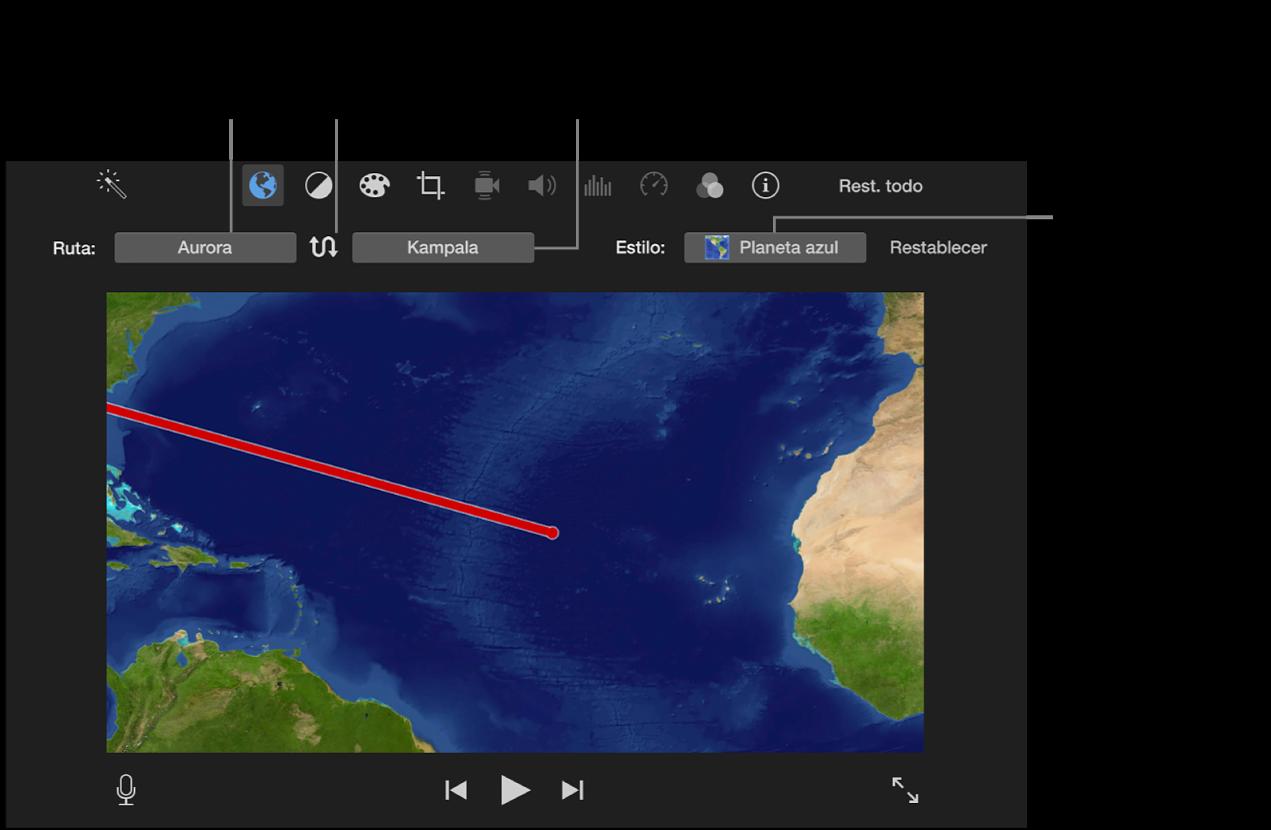 Controles del mapa de viaje animado encima del visor para ajustar la ubicación inicial y final, invertir la dirección de la ruta y seleccionar el estilo de mapa