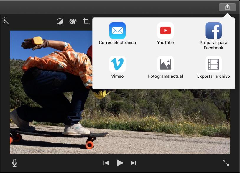 Botón Compartir en la barra de herramientas situada encima del visor, con las opciones para compartir debajo