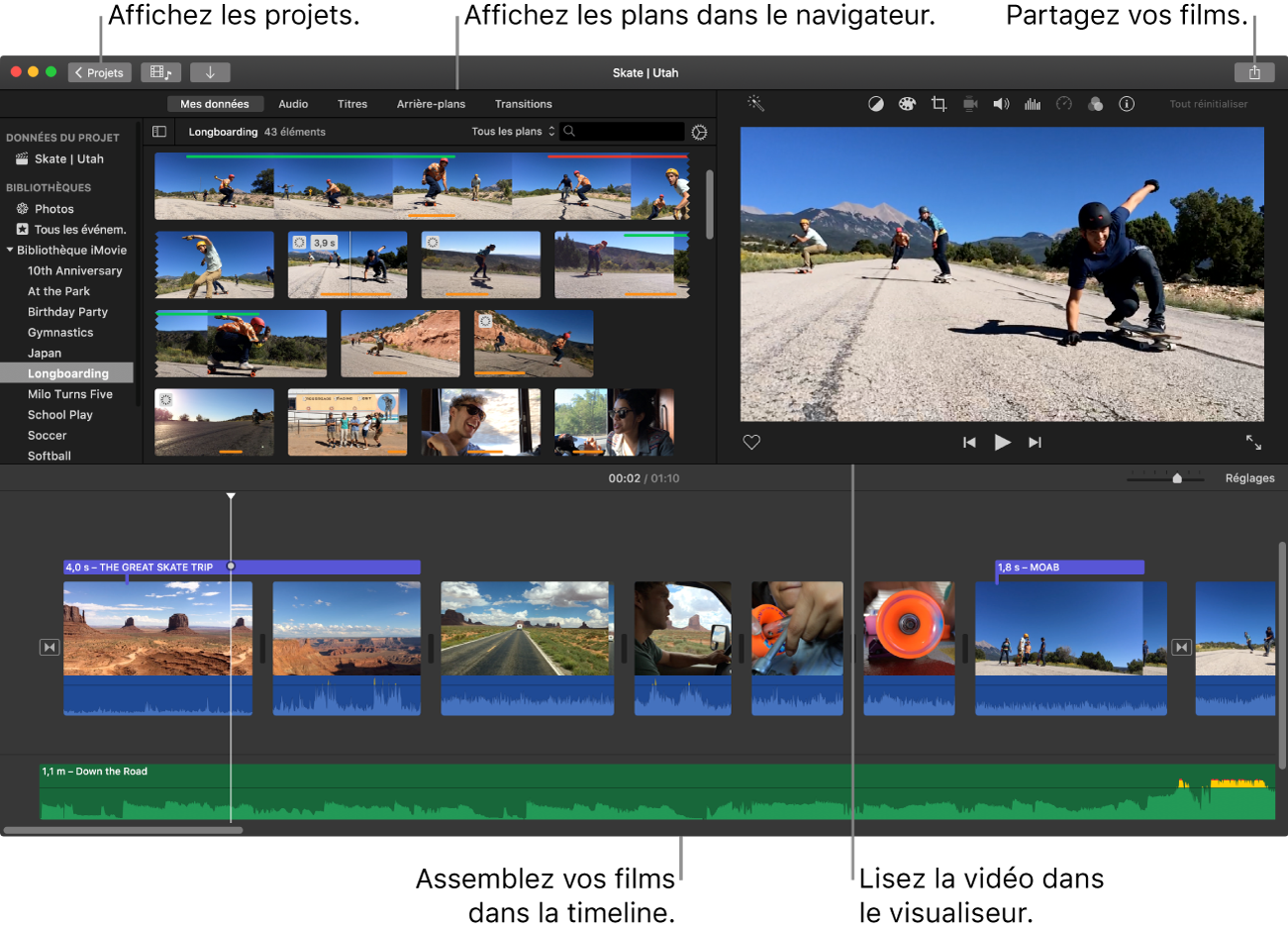 Fenêtre principale d'iMovie présentant le navigateur dans le coin supérieur gauche, le visualiseur dans le coin supérieur droit, et la timeline en bas