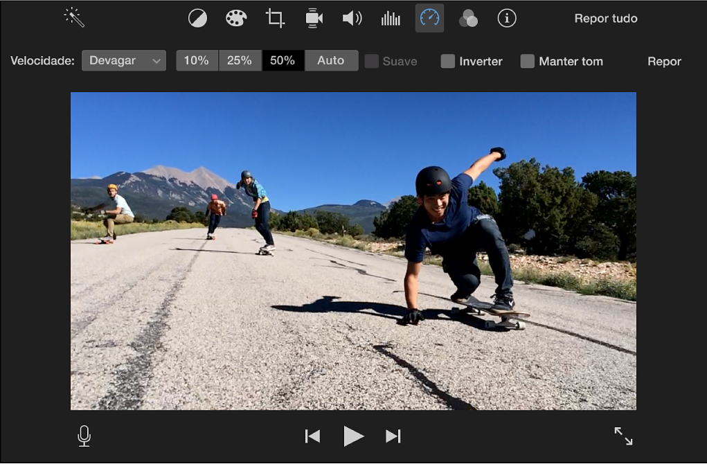 Controlos de velocidade por cima do clip do visualizador