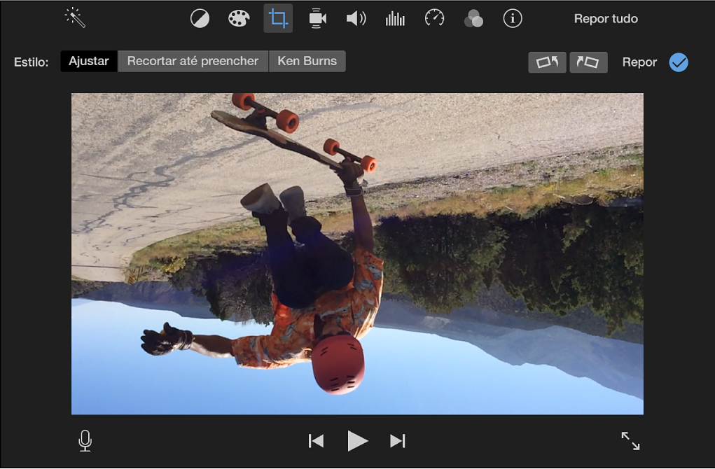 Visualizador com um clip rodado a 180 graus