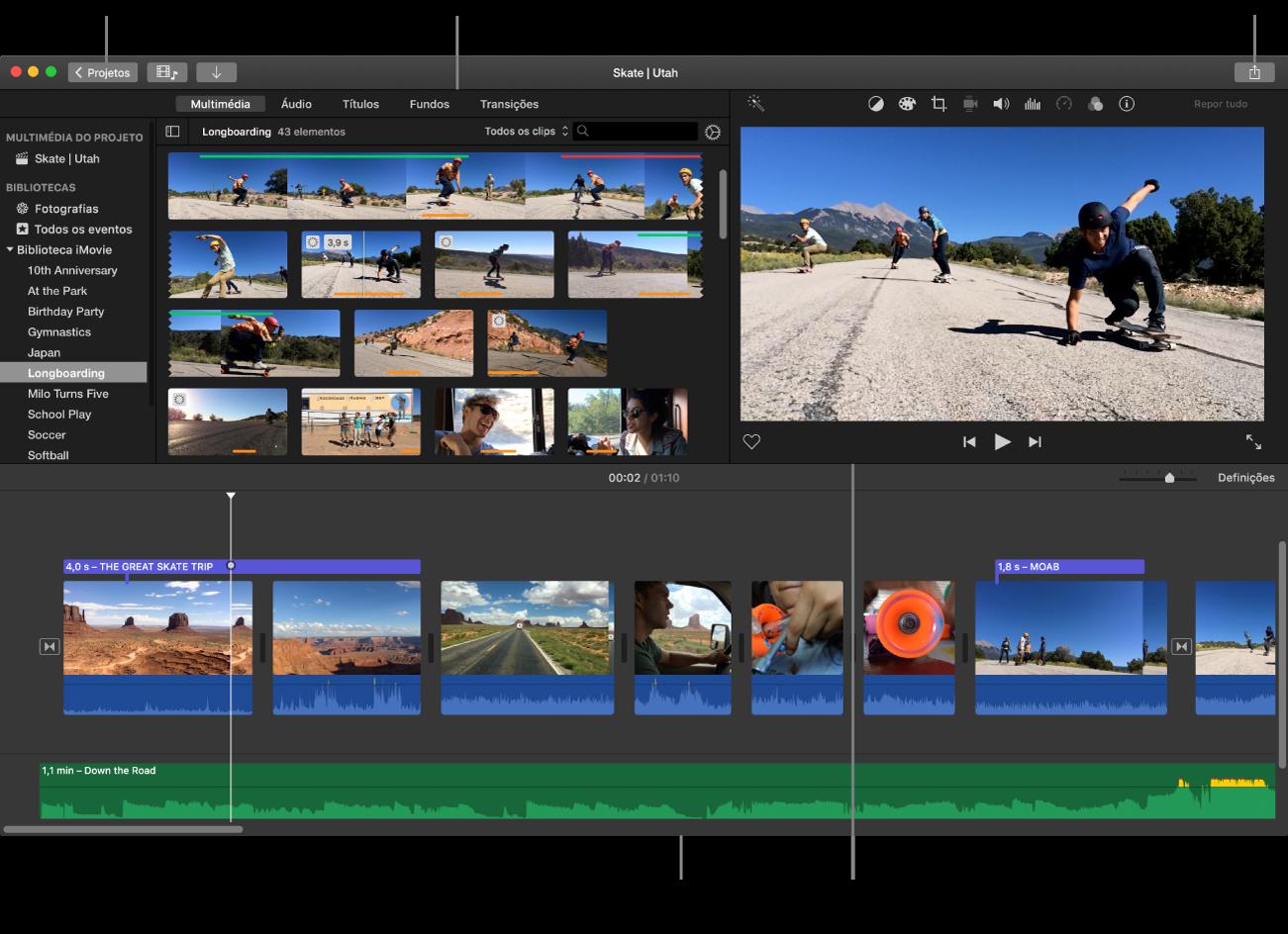 Janela principal do iMovie onde se vê o navegador na parte superior esquerda, o visualizador na parte superior direita e o cronograma na parte inferior