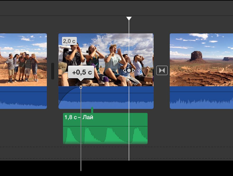 Метка-манипулятор для настройки постепенного изменения громкости звуковой составляющей клипа на временной шкале