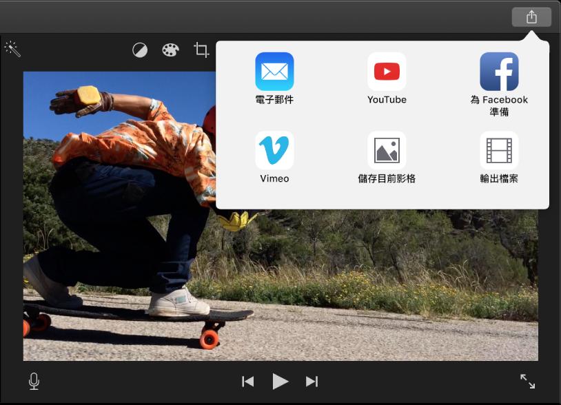 播放視窗上方工具列中的「分享」按鈕,下方為分享選項