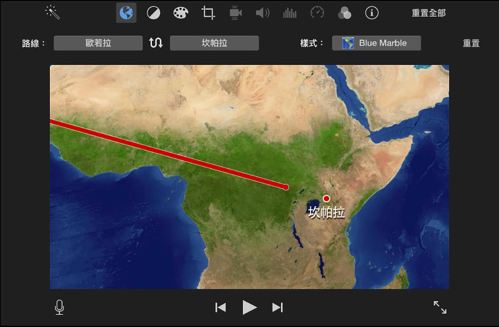 播放視窗中的動態旅遊地圖