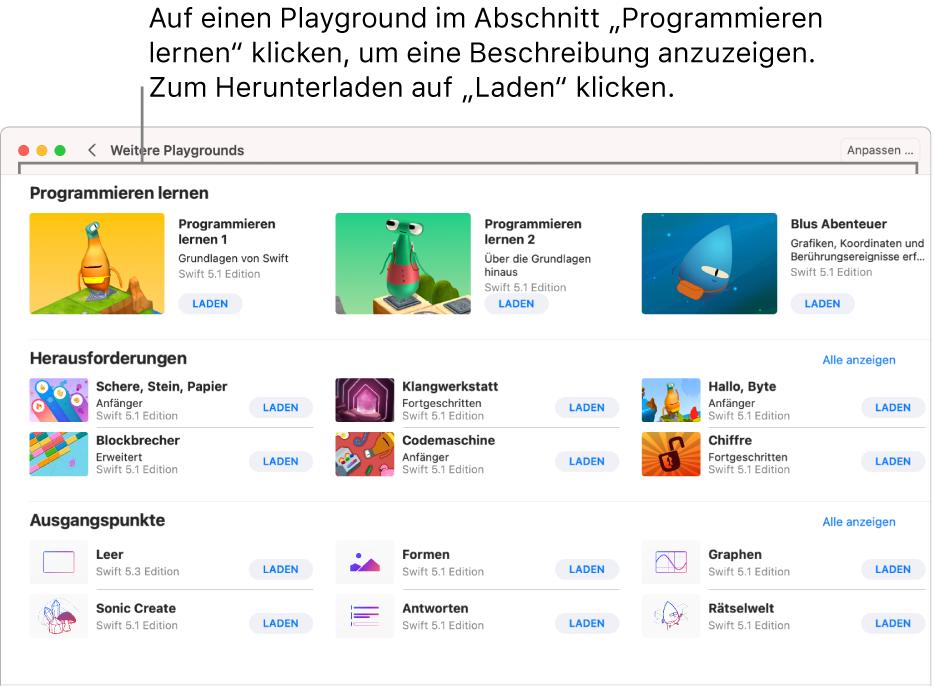 """Der Bildschirm """"Weitere Playgrounds"""". Oben befindet sich der Abschnitt """"Programmieren lernen"""" mit verschiedenen Playgrounds, die dir die Grundlagen des Programmierens vermitteln. Jeder Playground verfügt über eine Taste """"Laden"""", über die du den Playground herunterladen kannst."""