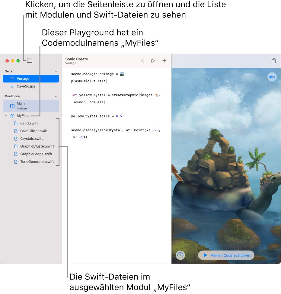 """Eine Playground-Seite mit der geöffneten Seitenleiste und der geöffneten Liste der Module zeigt den Playground an, auf dem sich das Codemodul """"MyFiles"""" mit sechs Swift-Dateien befindet."""