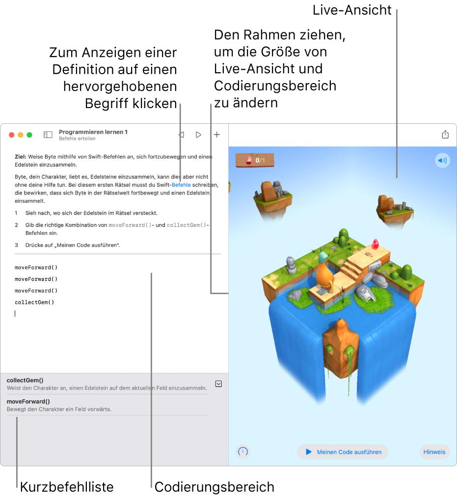 Ein Playground mit einem Codierungsbereich links und einer Live-Darstellung des Ergebnisses rechts. Du kannst auf hervorgehobenen Text klicken, um eine Definition anzuzeigen. Durch Klicken auf die Codevorschläge in der Liste der Kurzbefehle (unter dem Codebereich) kannst du diese in deinen Code eingeben.