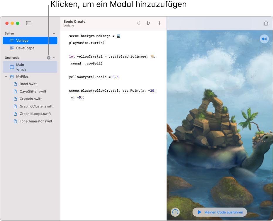 """Eine Playground-Seite und die geöffnete Seitenleiste mit der Liste der Seiten, Module und Swift-Dateien. Im Abschnitt """"Module"""" der Liste wird oben ein Pluszeichen eingeblendet. Durch Klicken auf dieses Pluszeichen kannst du ein Modul hinzufügen. Der untere Teil des Abschnitts """"Module"""" in der Seitenleiste zeigt ein neues, ausgewähltes Modul ohne Namen, das umbenannt werden kann."""