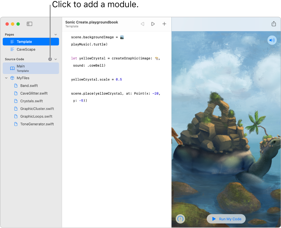 A playground page with the sidebar open, showing a list of pages, modules, and Swift files. There's a plus sign at the top of the Modules section of the list, showing that you can click it to add a module. The bottom of the Modules section in the sidebar shows a new, untitled module selected, ready to be renamed.