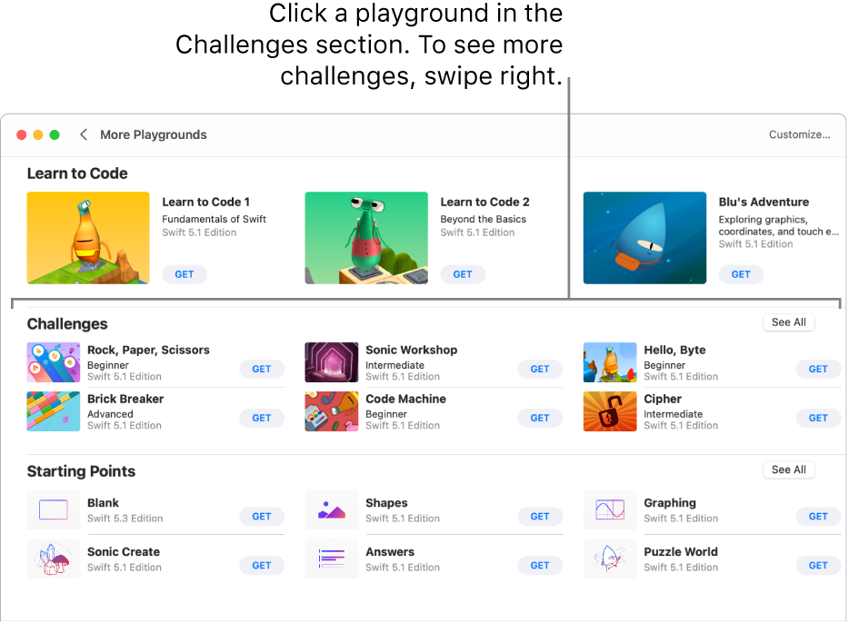 The More Playgrounds screen, with the Challenges section showing several predesigned playgrounds arranged in a grid, each with a Get button for downloading the playground.