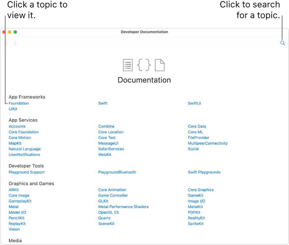 A playground page, showing the open Table of Contents page of the developer documentation on the right side. It shows the search icon and lists topics you can click to read.