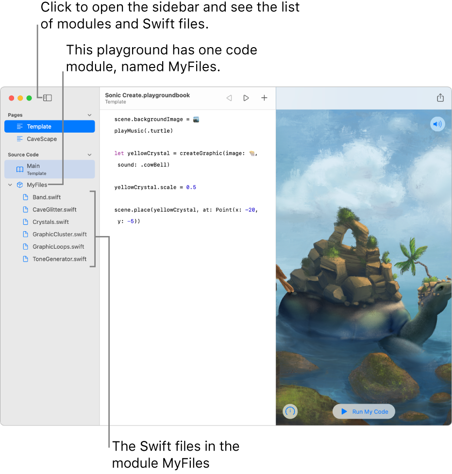 A playground page with the sidebar and the modules list open, showing that the playground has one code module named MyFiles, with six Swift files in it.