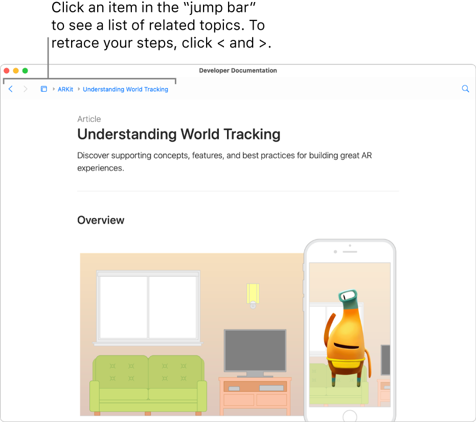 """A page from an article about ARKit from the Apple Developer website. At the top of the page is the """"jump bar,"""" showing your steps through the documentation. Click an element in the bar to get a list of related topics you can quickly jump to."""