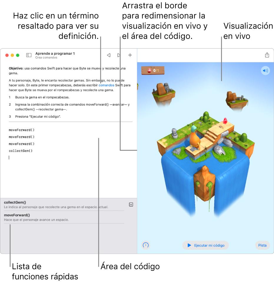 Un playground con un área para ingresar código a la izquierda y la visualización en vivo con el resultado a la derecha. Puedes hacer clic en texto resaltado para obtener una definición y hacer clic en sugerencias de código en la lista de funciones rápidas (debajo del área de código) para ingresarlas en tu código.