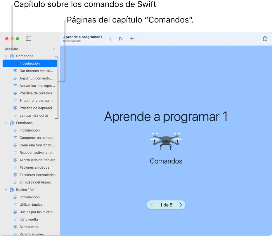"""La primera diapositiva de la página """"Introducción a los comandos"""" del área de juegos """"Aprende a programar 1"""". La barra lateral está abierta y muestra todos los capítulos y páginas del área de juegos."""