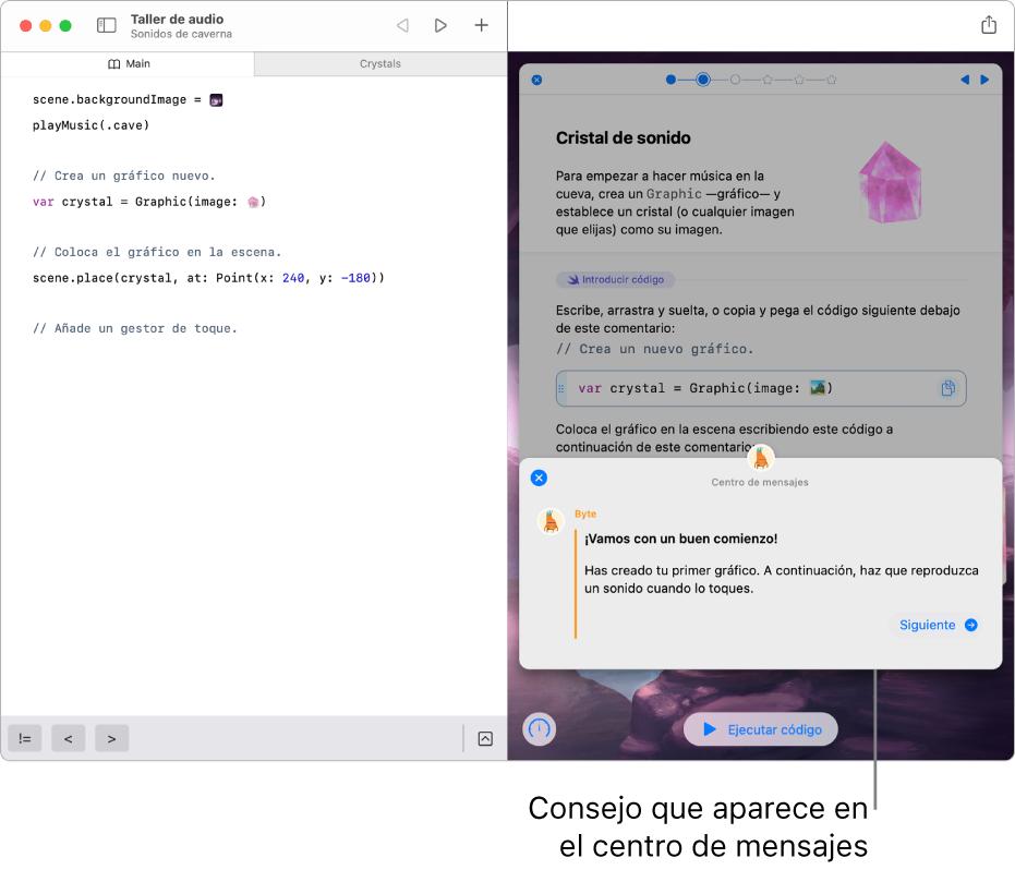 Un área de juegos abierta, con el centro de mensajes abierto y comentarios sobre el código recién ejecutado.