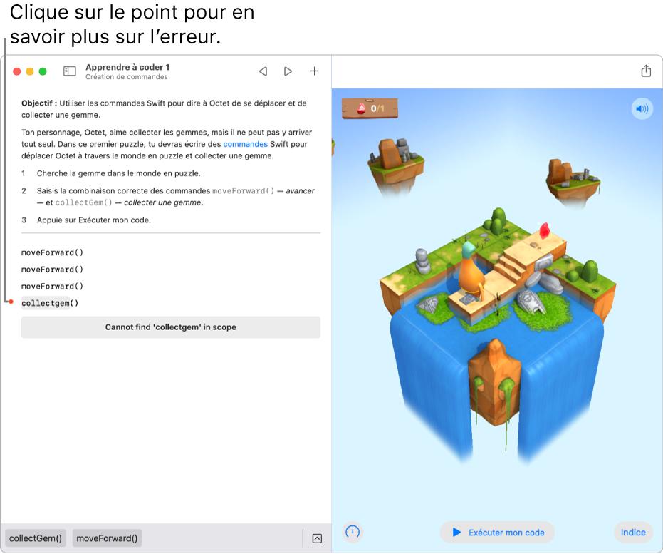 Un playground avec du code à gauche, un point de couleur à côté d'une ligne de code signalant une erreur et une explication de l'erreur en dessous.