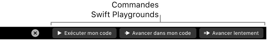 La TouchBar avec des boutons de l'app SwiftPlayground qui comprennent, de gauche à droite, «Exécuter mon code», «Avancer dans mon code» et «Avancer lentement».