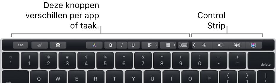 De TouchBar, met aan de linkerkant knoppen die per app of taak verschillen en aan de rechterkant de Control Strip die is samengevouwen.