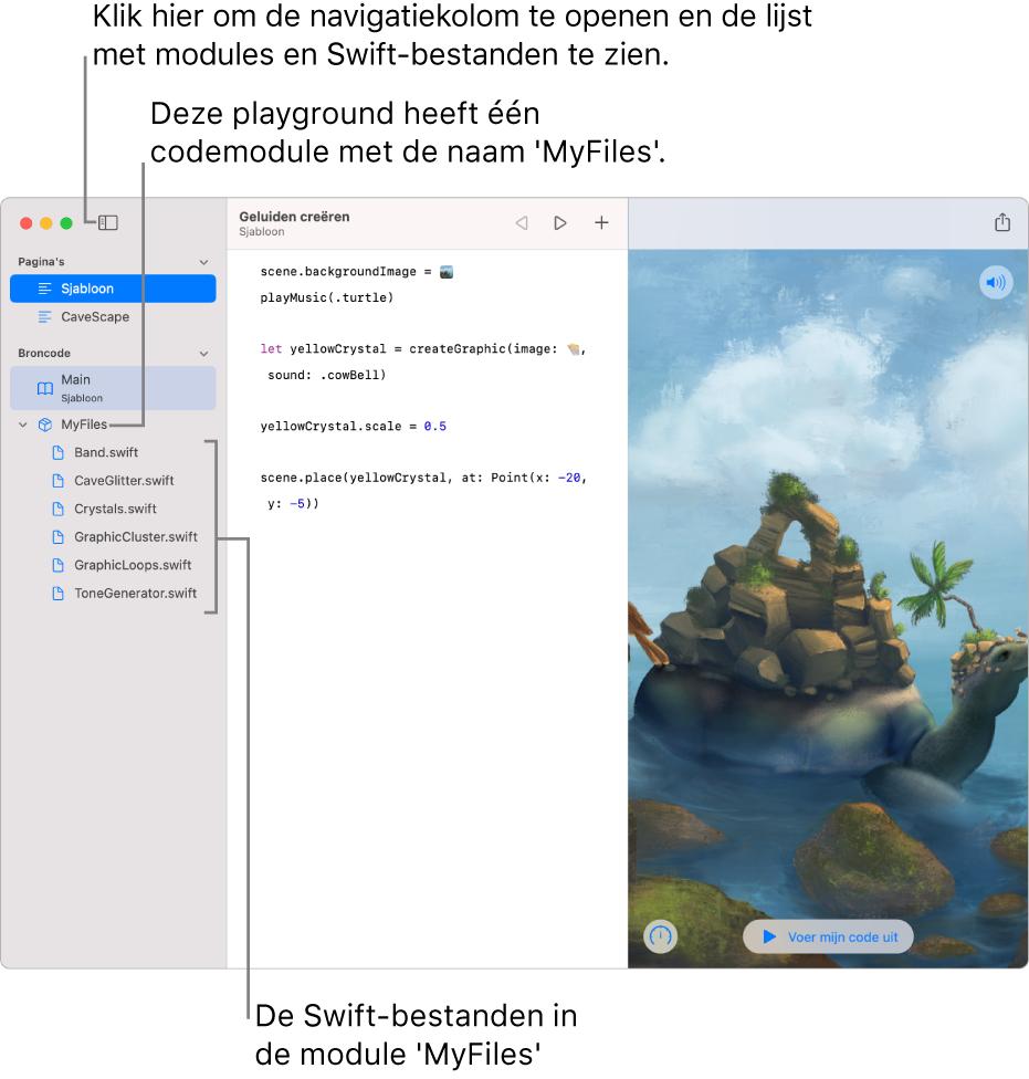 Een playgroundpagina met geopende navigatiekolom en lijst met modules waarin te zien is dat de playground één codemodule heeft met de naam 'MyFiles' met daarin zes Swift-bestanden.